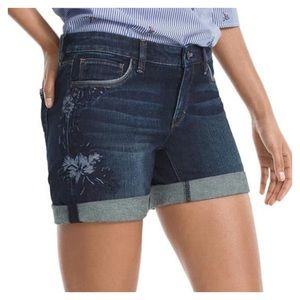 "WHBM The 5"" Short Denim Embroidered Size 6"